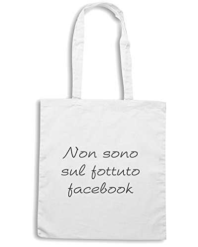 T-Shirtshock - Borsa Shopping TDM00200 non sono sul fottuto facebook Bianco