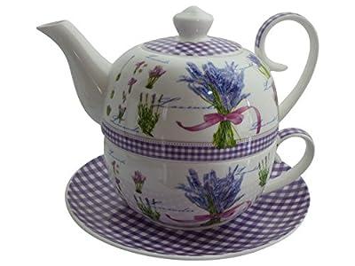Tea for one set de 4 pièces diamant: lavande-théière avec couvercle-tasse et so