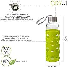 ORYX 5075050 Botella Agua de Cristal con Funda Goma y Tapón An Plateado