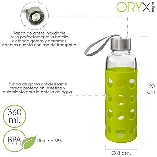 ORYX 5075050 Botella Agua de Cristal con Funda Goma y Tapón An Platea