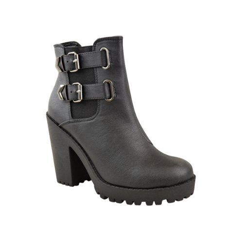 DONNE Chelsea plateau stivali caviglia MEDIO tacco alto elasticizzato Scarpe Numeri Ecopelle Nera