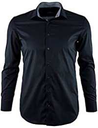 ETERNA Herren Langarm Hemd Modern Fit Modern Kent Stretch schwarz mit Patch 8936.39.X14P