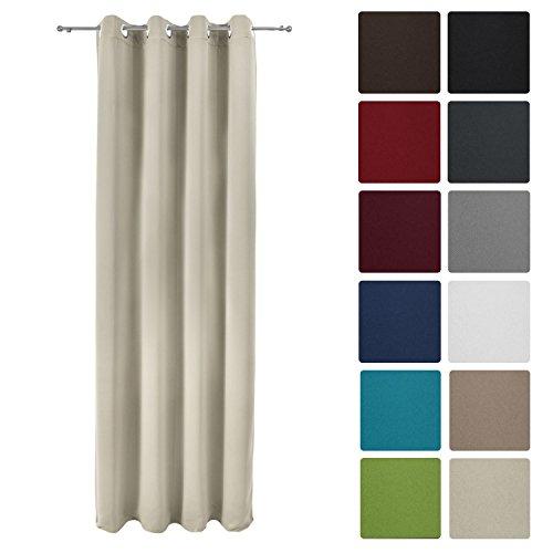 Beautissu tenda oscurante con occhielli serie amelie - 140x245 cm crema - oscura senza effetto blackout