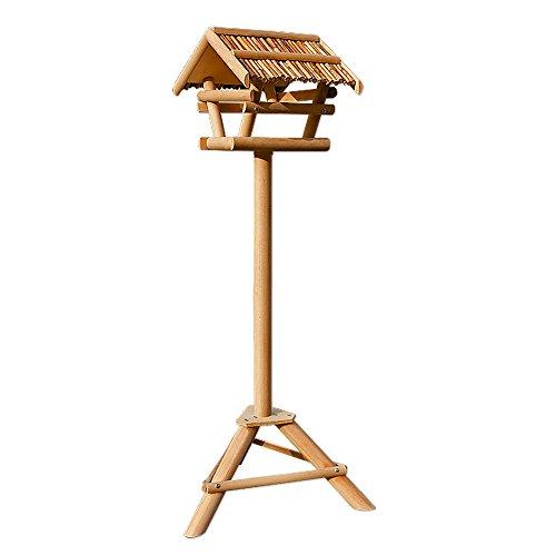 Vogelhaus Vogelhäuschen Futterstation Futterhaus mit Ständer -Bambusdach - 4