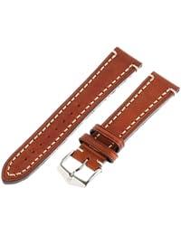 Hirsch Liberty Artisan leather watch strap L , Tan, Buckle, 20mm