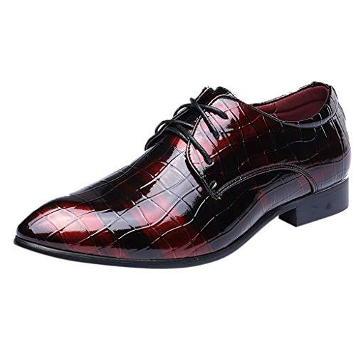 FNKDOR Schuhe Herren Derby Lederschuhe Lackleder Krokodil-Muster Businessschuhe Bankett Elegant Anzugsschuhe Lace-up Berufsschuhe(36-46) Rot 38 EU