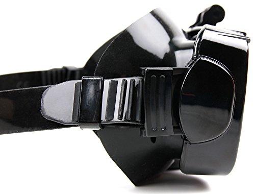 DURAGADGET Maschera subacquea supporto per action camera CAMTOA iowiedDE9416 | Drift 10-009-00 | EZVIZ S1 | GreatCool H3R | Hyundai HCAM6, colore nero, nuoto, immersioni, snorkeling