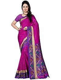 Novus Knitting Pink Zora Printed Art Silk Uniform Saree With Blouse (5691 F)