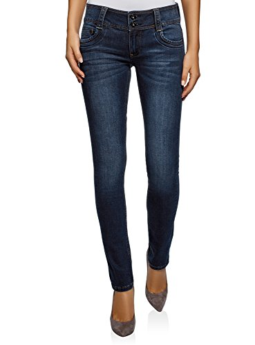 Oodji ultra donna jeans skinny a vita media, blu, 29w / 32l (it 46 / eu 42 / l)