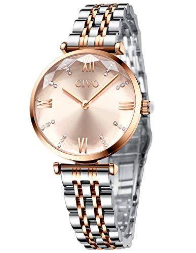 CIVO Damen Uhr Frauen Roségold Edelstahl Wasserdicht Armbanduhr Mädchen Jugendliche Einfach Lässige Modish Analoge Uhren