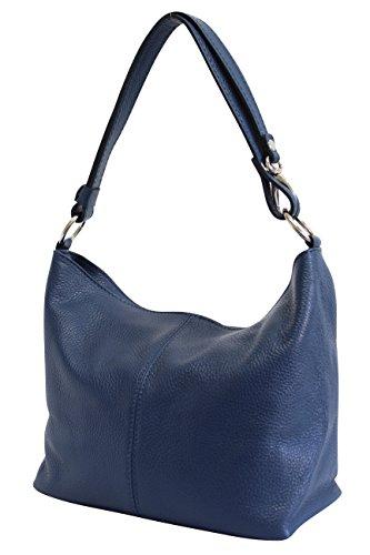 AMBRA Moda Damen Leder Handtasche Schultertasche Umhängetasche Hobo bag GL005 (Marineblau)