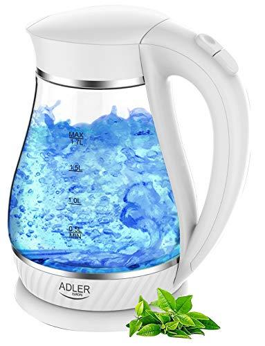 Glas Wasserkocher | Glaswasserkocher | Teekocher | Wasseraufbereiter | Wasserkessel | Kettle | 1,7 Liter | 2000 Watt | LED Innenbeleuchtung | … (Weiß)