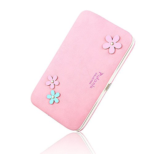 BIG SALE- 40% OFF -Woolala Phone Clutch Wallet Multi-pattern Iphone Samsung Phone Wallet Case with Wristlet, GeometryBlack FlowersPink