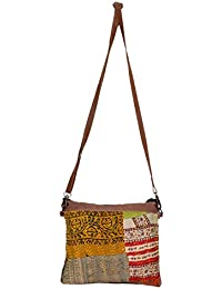 IndiWeaves Silk Kantha Work Detachable Leather Handle Handmade Cross Body Bag, Vintage Top Handle Shoulder Bag-MultiColor