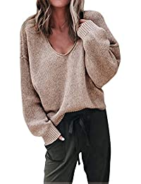 40b9183a181 ShallGood Femme Pull Automne Et Hiver Fashion Lâche à Manches Longues Pull  Col V Sexy Chaud Pullover Sweater Top Blouse en Tricot…
