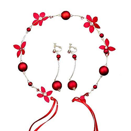 Qqzmd Yam Creative Girl Crown Stirnband Einstellbare Ribbon Red Pearl Flower Garland für Hochzeit zqq (Color : A) - Garland Flower Red