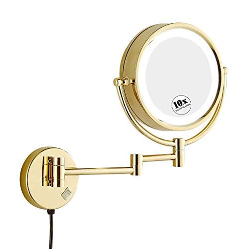 Espejo de Aumento de Pared con luz LED, Espejo tocador,10x Aumento, Doble Cara giratoria de 360 °,Fácil...