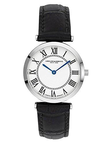 Abeler & Söhne fabricado en Alemania–Reloj de pulsera para mujer con cinta de piel y cristal de zafiro AS3200