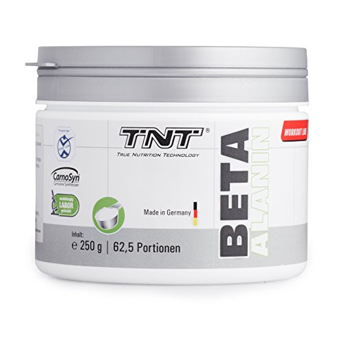Beta Alanin Pulver von Carnosyn® für Muskelaufbau von TNT | Für Sport, Fitness & Bodybuilding | Premium Qualität aus Deutschland | Beta-Alanin | 250g Dose, hochwertig & geschmacksneutral