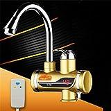 TRNMC Elektrische Wasserhahn Instant Elektro Durchlauferhitzer Warmwasserhahn Wasserhahn 220 V Küche Heizung Kochherd mit LED Digitalanzeige Unter Zulauf- (Gold),C