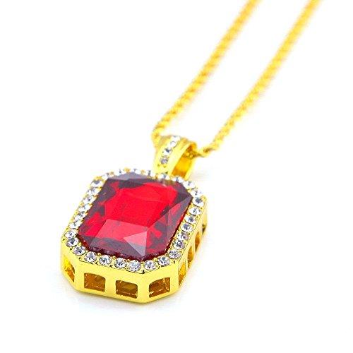 Gold-seil-kette Männer (AOLVO Strass Kristall Halskette Octagon Anhänger für Männer und Frauen mit gratis gedrehtes Seil Halskette Kette 61cm Gold Chain+red Rhinestone)