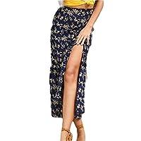 GAGA Women High Waisted Side Split Bodycon Chiffon Long Maxi Skirts 3 XS