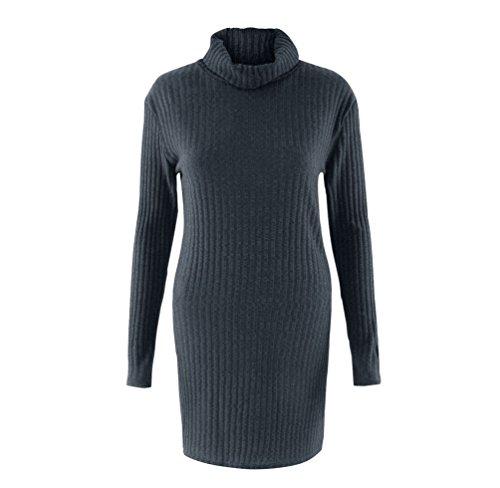 NiSeng Donna Maglione Lungo Vestito Corto Maniche Lunghe Alta Colletto Vestiti Maglia Autunno e Inverno Grigio scuro