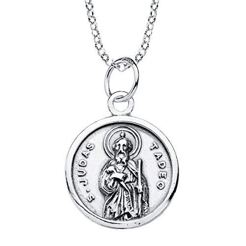 Iyé Biyé - Collar Medalla Colgante San Judas Tadeo 19mm Plata de Ley 925 Cadena rolo 40+3 cm Ajustable