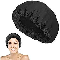 Geggur Bonnet Chauffant pour Soins Capillaires, Micro Ondes Bonnet Chauffant Cheveux Thermique Bonnet Cheveux Traitement avec 10 Jetables Bonnets de Douche