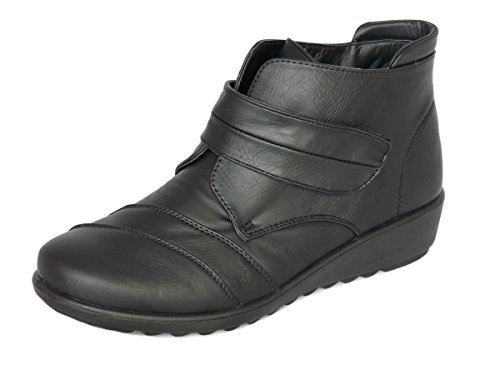 Cushion Walk Women's Black Low Wedge Ankle Boots with Touch Fastening &...