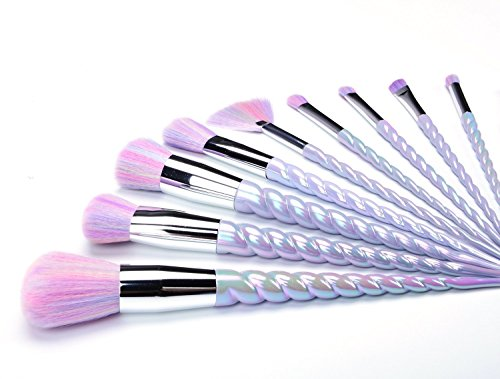Unicorn Brushes,CDC� 10Pcs Unicorn Design Handle Makeup Brush Set Foundation Eyebrow Eyeliner Blush Cosmetic Concealer Makeup Brushes Tool With Carry Bag (Rainbow Hair)