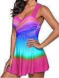 SHOBDW Damen Regenbogen Farbe Swimdress Badeanzug Beachwear Gepolsterte Bademode Plus Size Bikini Elegant Schick Badeanzüge Einfach und Stilvoll Bathing Suit