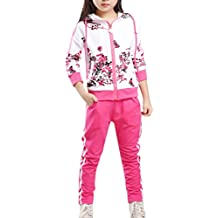 d740c5aa85c9d Lopetve Niños Niña Flor del largo de la manga de impresión pantalones de  chándal + Trajes