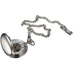 Visol Quinn Brushed Chrome Mechanical Pocket Watch