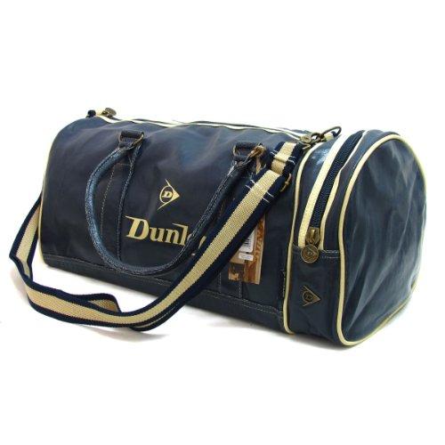 Antik-leder-schuhe (Zurück in die Schule Dunlop Marineblau Retro Distressed Leder-Look Reisetasche Schultertasche mit Gym Ecru trimmen)