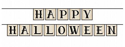 (Feste Feiern Halloween Deko I 2 Teile Girlande Schrift Vintage Grau 210cm Lang Happy Horror Grusel Party)