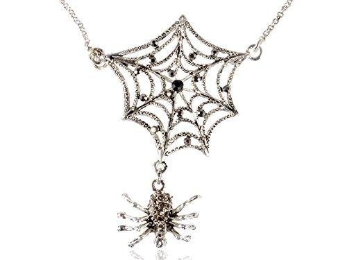 Alilang Damen Silber Farbton Grau Strass Halloween gruselige Spinnen Netz Anhänger Halskette
