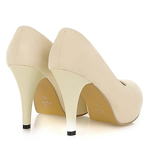 COOLCEPT Damen Mode-Event Slip On Pumps Stiletto Hoher Party Shoes Beige