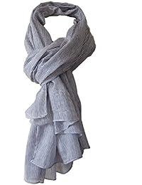 Écharpe chèche mixte 100% coton rayé bleu marine