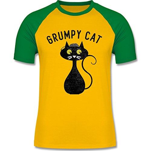 Nerds & Geeks - Grumpy Cat - Nerdy Cats - zweifarbiges Baseballshirt für Männer Gelb/Grün