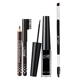 Sharplace Eyeliner Líquido Impermeable Brillo de Ojos + Lápices Negro / Marrón de Cejas + Cepillo de Maquillaje de Ceja de Doble Finales Cepillo de Pestaña