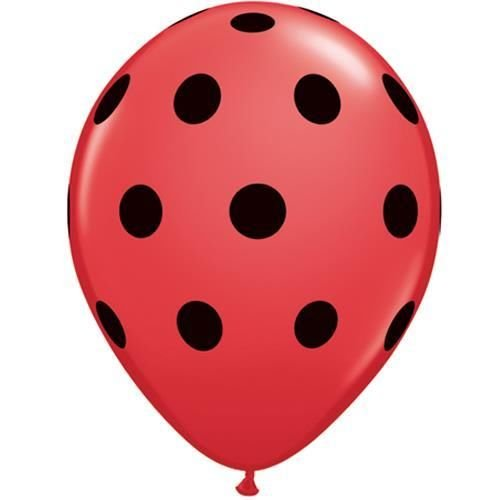 Groß Gepunktet Rot Mit Schwarz Punkte Qualatex 12.7cm Latex Ballon x 10