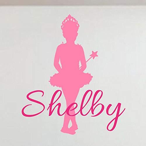 Qvzxn Prinzessin Wandtattoos Personalisierte Benutzerdefinierte Mädchen Name Vinyl Prinzessin Thema Ballerina Wandaufkleber Kunst Kinder Mädchen Room Decor 57X65 Cm (Room Decor Mädchen)
