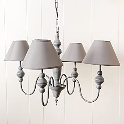 French Style Decorative Grey Chandelier Ceiling Pendant Light Four Arms for Extra Lighting, Great for a hallway, living area, bedroom or dining table! Fabulous decoration! Long pendant for adjusting to suit your needs! W70 x H 44 x cable length 75cm produ