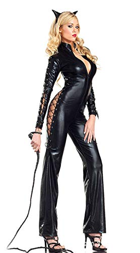 AWSAYS 2019 Schwarze Katze MäDchen Doppelseitige Katze Halloween Wildes Partykleid Uniform Leder KöNigin Cosplay (Halloween-kostüme 2019 Mädchen Heiße)