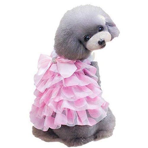 Zubehör Kostüm Dea - Deayi Zubehör Kostüme Festliche Kleidung Haustier-Mädchen-Hund oder Girly Prinzessin-Kostüm-Kostüm-Ausrüstungs-Kleiner Hund kleidet Kleidung (Farbe : Pink, größe : XL) Frühjahr große Winter Pink Xs