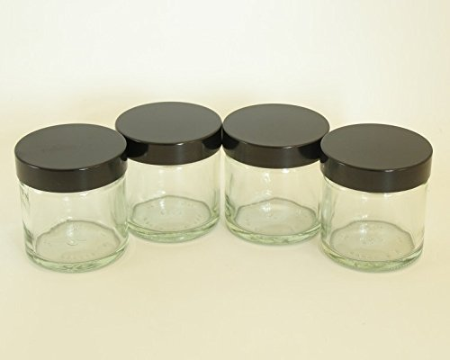 60ml Durchsichtiges Glas Kosmetik Glas (4ER PACKUNG) mit EPE liniert schwarzem Deckel für Cremes/Aromatherapie Mischungen