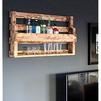 Holz Whiskeyregal mit Gläserhalter fertig montiert braun geflammt