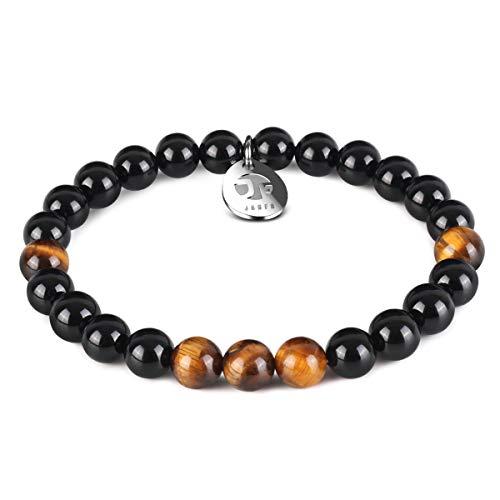 JOXFA Perlen Armband für Männer Frauen, 8mm Natürlichen Onyx Armbänder Edelstein runden Achat Perlen Inspirierende Heilung Kristall handgemachte Elastische Stretch Bettelarmband (Malachite) (Runde Kristall-perlen)