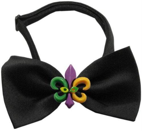 47-33BK Mardi Gras Fleur de Lis Chipper schwarz Bow Tie Schleife, klein ()